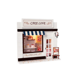 Wholesale Dollhouse Miniature Diy Kits - Wooden DIY Kit The Coffee Cake Shop Dollhouse Handcraft Miniature LED Light Gift Kids Toy
