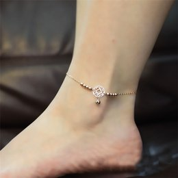 Wholesale Gold Titanium Anklet - HOT Little Bell Anklet Bracelet Rose Gold Titanium Steel Women Girl Lover Barefoot Anklet Fashion Foot Chain Jewelry