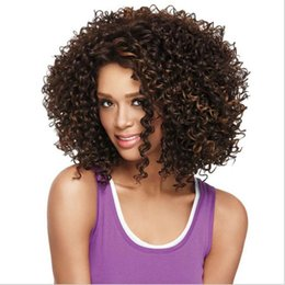 Wholesale Hair Style Afro - Fashion Afro kinky curly wigs Synthetic hair wigs Heat Resistant fiber Short style Black women wigs hot sale
