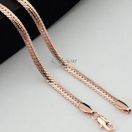 Wholesale Gold Filled Herringbone Necklace - Wholesale- 1pcs 45cm-70cm Long 3mm 4mm Men's Women Couple Rose Gold Filled Snake Necklace Herringbone Chain E153