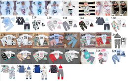 Wholesale Christmas Pants For Girls - Spring Baby Romper Baby Boy Girl sets Newborn Infant Romper pants+Hat 3pcs Baby Outfits Clothing For 0~2 Y