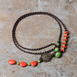 Wholesale Bean Pendant Necklace - Wholesale-red beans Turquoise green stones thailand jewelry ethnic necklace ,New traditional Jewelry Chinese Wind vintage necklace