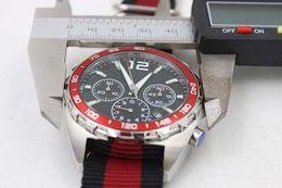 Wholesale Chronometer Quartz - New Arrival Quartz 46mm steel Wristwatch Mclaren CR7 Fabric Belt Red Bezel White Dial Ti3 Platinum Skeleton Chronometer Male Watch Relojo