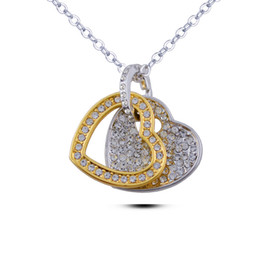 Wholesale Jewelry Manufacturer Pendants - Fashion heart-shaped crystal necklace jewelry, new goods manufacturers gold color Diamond Heart Pendant Necklace Jewelry for women 015-87