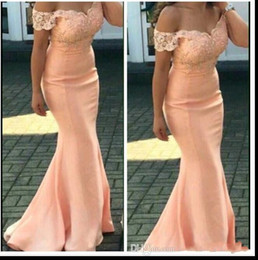 Wholesale Peach Floor Length Bridesmaid Dresses - Bridesmaid Dresses 2017 New Cheap For Weddings Peach Cap Sleeves Lace Appliques Mermaid Floor Length Plus Size Formal Maid of Honor Gowns
