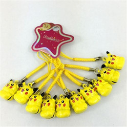 Wholesale Phone Dangles - 50PCS Cartoon Anime Pikachu Yellow Cell Phone Strap JINGLE BELLS Dangle Charms Key chains Trendy Children Gifts Headwear