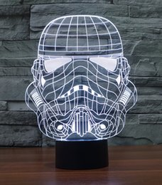 Wholesale Storm Lamp - Wholesale- New 2016 Storm Soldier Acrylic Night Light 3D LED Touch Switch Colorful Gradient Novelty Lighting Table lamp Home Decor