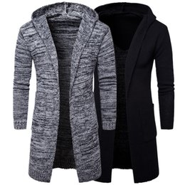 Wholesale Solid Color Hooded Cardigans - Autumn Winter Loose Long Mens Cardigans Sweaters New Fashion Thick plus Size Jumpers Mens Hooded Sueter Knit Sweater Sudaderas T170758