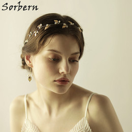 Wholesale Bridal Earrings Headpiece - Sorbern Luxurious Gold Leaves Headpiece Earring Hair Comb Crystal Hair Jewelry Festival Gifts Bride Hair Pins Wedding Bridal Accessories
