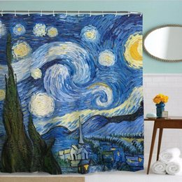 Wholesale Famous Cartoon Paintings - Polyester Shower Curtains Van Gogh Famous Starry Night Painting Bathroom Décor Bathroom Shower Curtain Bathroom Bath Curtain KKA2105