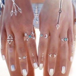 Wholesale Moon Band Rings - 6PCS Vintage Moon Arrow Ring Set Female Anillos Silver Midi Finger Rings For Women Beach Jewelry Anel Knuckle Charm anelli