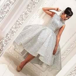 Wholesale Picture Bling - Sexy Silver High Collar Sleeveless Bling Bling Short Front Long Back 2017 Cheap Arabic Prom Dresses