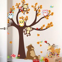 Toptan Orman Ağacı Şubesi yaprak Hayvan Karikatür Baykuş Maymun Ayı Geyik Duvar Çıkartmaları Çocuk Odaları Çocuk Odası Ev Dekor nereden baykuş maymun odası dekor tedarikçiler