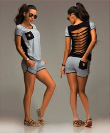 Wholesale Climbing Short Pants - Women Short Sleeve Hollow Out Outfit Sweat Suit Fashion Causal Summer Tracksuit sets Female Gray short sets tops and Short Pants