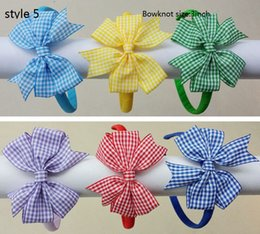 Wholesale Headband Hard - 7 style available girl gingham hair bows solid Hair Bands Covered ribbon fully lined wrapped Plastic school plaid hard Headbands 12pcs