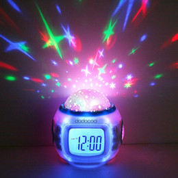 Changement léger de la musique en Ligne-Digital Led Projection Projector Alarm Clock Calendar Thermometer horloge reloj despertador Music Starry Color Change Star Sky Night Lights