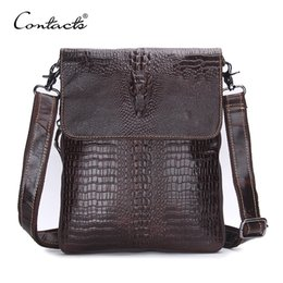 Wholesale Genuine Crocodile - CONTACT'S Fashion Designer Genuine Leather Crossbody Bags For Men High Quality Handmade Crocodile Leather Small Shoulder Bag