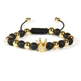 Klare stein armband online-Mikro gepflastert klar CZ Crown Kings Armband Großhandel 10pcs / lot 8mm Matt Achat Stein Perlen Herrenuhr Armband