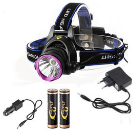 Wholesale Cree Xml Battery - wholesale 1800 Lumens CREE XM-L XML T6 led Headlamps Headlight Flashlight Head Lamp Light with 18650 battery charger set for Hunting Camping