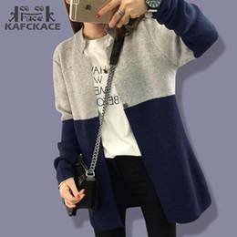 blusas wildfox Desconto Moda-mulheres Camisola Cardigan Casaco de Inverno Feminino de Malha Longa Jaqueta Cor Patchwork Quente Coreano Plus Size Blusa de Lã Senhoras Wildfox