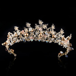 Wholesale Trendy Handmade Earrings - Crystal Bridal Wedding Plum Pearls Crown Earrings 2018 Romantic Baroque Flowers Shaped Bridal Tiaras Earrings Handmade Bridal Accessories
