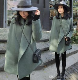 Wholesale Woolen Cloak Cape - Winter new European and American style loose in the long section of solid color woolen coat cape type loose profile coat windbreaker jacket