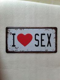 Wholesale Sex Wall Art - I LOVE SEX Vintage Metal Plaque Car Number Retro Licence Plate Tin Sign Bar Pub Home Cafe Wall Decor Retro Metal Art Poster