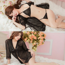 Wholesale Wholesale Erotic Products - Erotic lingerie Sleepwear women sexy lingerie Negligee hot erotic sexy clothes costumes lenceria pyjamas Pajamas Sex Products