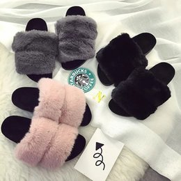 Wholesale Fluffy Animal Slippers - Women Slipper Platforms On Flat Fur Fluffy Feather Slipper Shoes Flats Sandals Plus Size