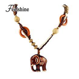 Wholesale Wood Pendant Necklace Elephant - Boho Ethnic Jewelry Long Hand Made Bead Wood Elephant Pendant Maxi Necklace For Women Wholesale Price
