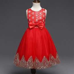Wholesale Dre Girls - Europe and the United States embroidered garment princess dress Sleeveless bowknot girl scout red dress in summer flower girl dress prom dre