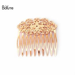 BoYuTe 10 piezas 6 colores plateados 10 horquillas 55 * 60 mm filigree flor peine pelo mujeres accesorios para el cabello desde fabricantes
