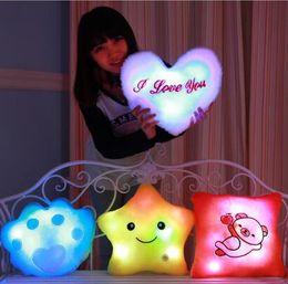 Wholesale Heart Plush Toys - LED Light Pillows Lucky Star Bear Heart-Shaped Luminous Pillow Plush Stuffed Pillow Toys for Kids Birthday Party Gifts CCA6769 200pcs