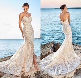 Vestido de novia de hendidura delantera cariño online-2017 Sexy sirena Beach Lace vestidos de novia Sweetheart Slit Front Low Back Vestidos de novia Vestidos De Noiva