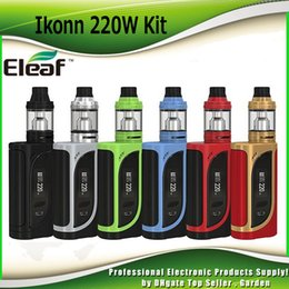 Wholesale Interface Boxes - Original Eleaf iKonn 220 Starter Kits 2ml   4ml ELLO Atomizer 220W iKonn Box Mod Kit Preheat Function Switchable Interfaces 100% Authentic