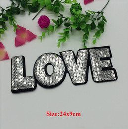 Wholesale Wedding Jeans - 20pcs Love Sequined Patch For Clothes Iron On Patches Letter parches Embroidered Wedding Dress Jeans Jacket Fabric Patchwork Badge Appliques