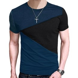 Wholesale Wholesale Short Sleeve Casual Shirts - 2017 men's t-shirts summer gentleman clothing ZSIIBO Fashion Tops harajuku t-shirt bts Casual Slim Fit hip hop Tees Stitching shirt TX1161-F