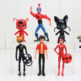Wholesale Action Figure Bags - 6pcs lot 8-12.5cm Miraculous Ladybug Adrien Noir Agreste Cat PVC Action Figure Toys opp bag