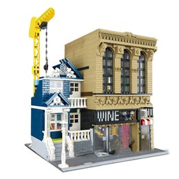 Wholesale New Lepin Genuine Creative Streetsight MOC Series Wineries and Financial Companies Set Building Blocks Bricks Toys