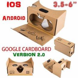 Wholesale Oculos Virtual - Wholesale- wholesale Google cardboard VR BOX 2.0 Version VR headset oculos Virtual Reality 3D Glasses helmet For 3.5 - 6.0 inch Smartphone