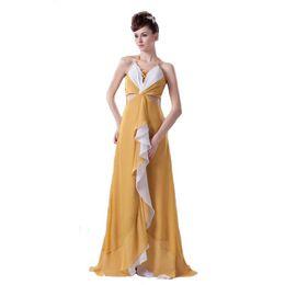 Due colori Halter Banquet Dress Evening Floor Lunghezza Tie a V-Neck Fashion European Design Hollow Waistline supplier hollow design evening dresses da abiti da sera design cavi fornitori