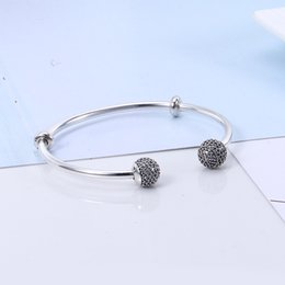 Wholesale 925 Sterling Silver Bead Caps - Authentic 925 Sterling Silver Moments Silver Open Bangle, Pave Caps Fit DIY Beads Jewelry