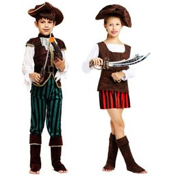 Wholesale Red Pirate Dress - Kids Boy Girl Pirate Costume Captain Pirates Cosplay Costumes Christmas Halloween Masquerade Party Dress Decoration New Year