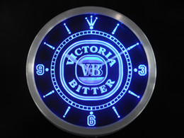 Wholesale Neon Led Wall Clock - Wholesale-nc0123 Victoria Bitter VB Beer Bar Neon Sign LED Wall Clock
