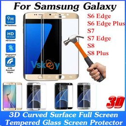Wholesale Anti Surface - 10pcs 3D Curved Surface Full Cover Tempered Glass For Samsung Galaxy S7 Edge S6 Edge Plus A3 A5 (2017) Explosion Proof Screen Protector