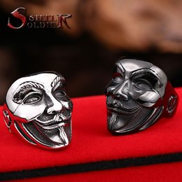 Wholesale Wholesale Guys Jewelry - Wholesale- Steel soldier new design Guy Fawkes Mask film style ring stainless steel V for vendetta trendy men mask jewelry