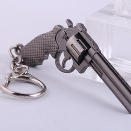 Wholesale Weapon Keyring Keychain - Revolver Pistol Weapon Gun Model Metal Keyring Punk Violent Keychain Mini Key Ring Chain