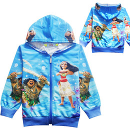 Wholesale Outwear Child - Kids Clothes Moana Cosplay Outwear Hooded Cotton Long Sleeve Zipper Fall Spring Children Girls Clothing