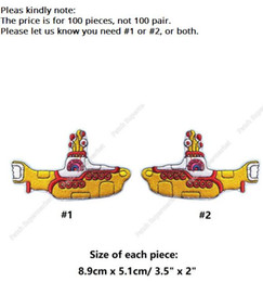 """Wholesale Beatles Clothes - 3.5"""" The BEATLES Yellow Submarine Iron On Patches ROCK PUNK Embroidered badge costume rockabilly clothing music band party favor"""