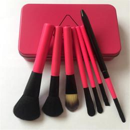 Wholesale Make Up Korea Wholesale - Professional Cosmetic Korea Iron Box Makeup Brush 7pcs Sets Makeup Kit Rose Red Make up Tools